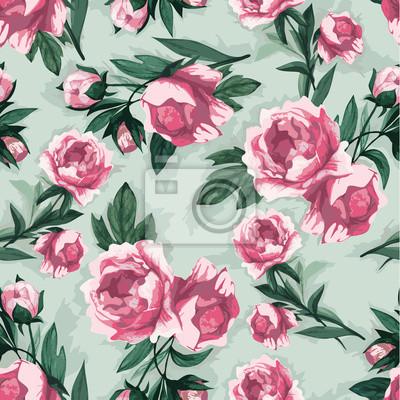 Bez szwu kwiatowy wzór z róż różowy, akwarela.