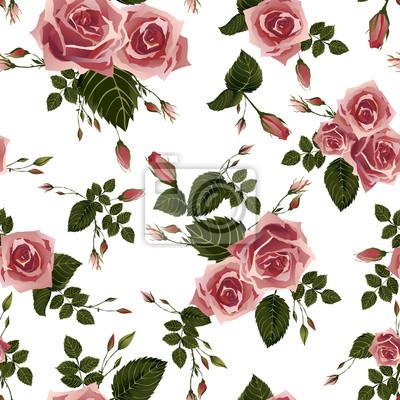 Bez szwu kwiatowy wzór z różowych róż
