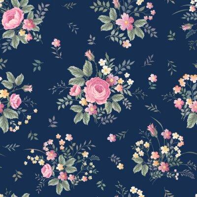 Naklejka bez szwu kwiatowy wzór z róży bukiet ondark niebieskim tle
