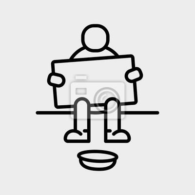 Bezdomny Beggar Siedzi Minimalistyczny Flat Line Outline Ikona Stroke Piktogram Symbol