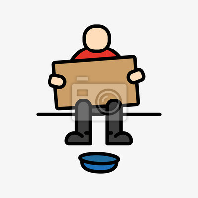 Bezdomny Beggar Sitting Minimalistyczny Kolor Płaski Linia Zarys Szkic Ikona Stroke Piktogram Symbol