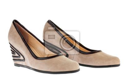 Beżowe buty zamszowe platformy