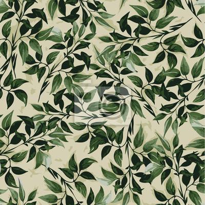 Bezproblemowa vrctor kwiatowy wzór z zielonych liści ficus