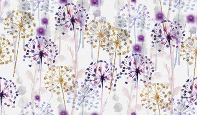 Naklejka Bezszwowe akwarela dziki kwiatowy wzór w stylu malowania dłoni, tapeta delikatny kwiat