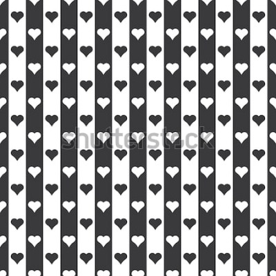 Naklejka Bezszwowe czarno-białe serca i paski wzór wektor