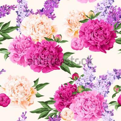 Naklejka Bezszwowe różnokolorowe piwonie i liliowy