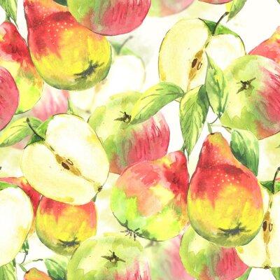 Bezszwowe tło, gruszki i jabłka akwarelowe