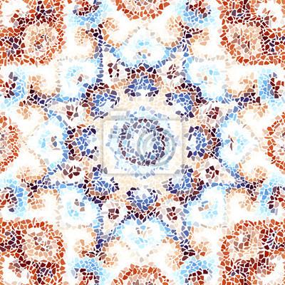 Naklejka Bezszwowe tło wzór. Nieregularny dekoracyjny wzór mozaiki geometrycznej z nieregularnych, złamanych kawałków.