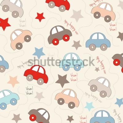 Naklejka bezszwowe tło z samochodami, ilustracji wektorowych