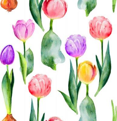 Naklejka bezszwowe tulipan wzór na białym tle