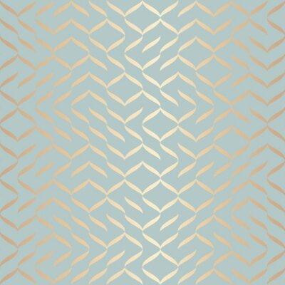 Naklejka Bezszwowe wektor wzór geometryczny złoty element. Abstrakcjonistyczna tło miedziana tekstura na błękitnej zieleni. Prosty, minimalistyczny wydruk graficzny. Nowoczesna turkusowa krata kratowa. Modny w