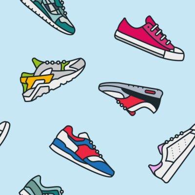 Bezszwowe wzór Sneaker Shoe Minimalistyczny kolor Flat Line Outline Ikona Skoku Ikona Piktogramu
