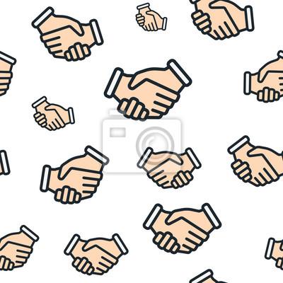 Bezszwowe wzorowanie Uścisk dłoni Partnerstwo przyjaźń Minimalistyczna kolorowa linia płaska Obrys Szkicowanie Ikona Piktogram Zestaw zbioru symboli