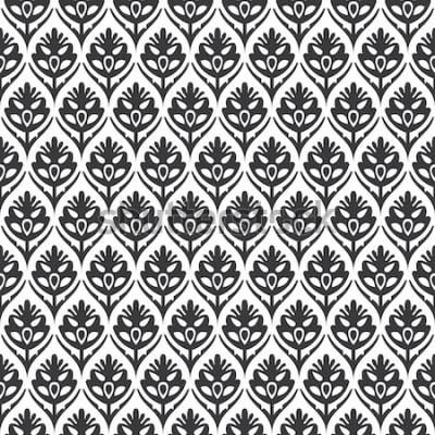 Naklejka Bezszwowego czarny i biały rocznika kwiecistego potwór średniowieczny deseniowy wektor