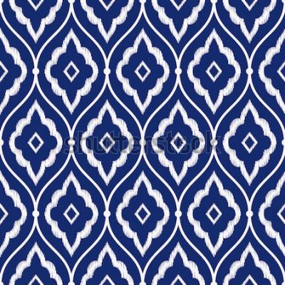 Naklejka Bezszwowej porcelany indygo błękitnego i białego rocznika Perski ikat wzoru wektor