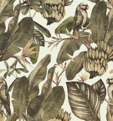Naklejka Bezszwowy akwarela wzór z poślubnikiem, palmowymi liśćmi, gałąź strelitzia, calathea.Tropic rocznika tło