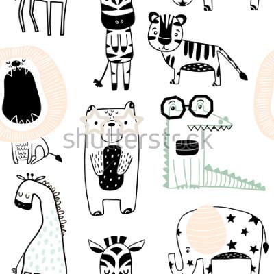 Naklejka Bezszwowy dziecięcy wzór z ślicznymi zwierzętami w czarny i biały stylu. Kreatywnych dzieci scandinavian tekstury do tkanin, pakowania, włókienniczych, tapety, odzieży. Ilustracji wektorowych