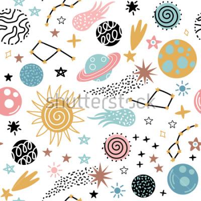 Naklejka Bezszwowy galaktyka wzór z gwiazdozbiorami i planetami w doodle stylu. Ilustracja wektorowa dla dzieci.