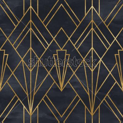 Naklejka Bezszwowy geometryczny wzór na papierowej teksturze. Tło w stylu Art Deco