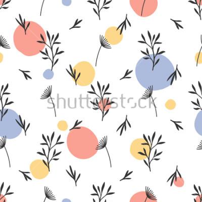 Naklejka Bezszwowy kwiatu wzór. Płaski ornament botaniczny z elementami przyrody i kropek handdrawn. Prosta powtarzająca się tekstura. Nowoczesna oryginalna tkanina, papier pakowy, wystrój wnętrz. Próbka wielo