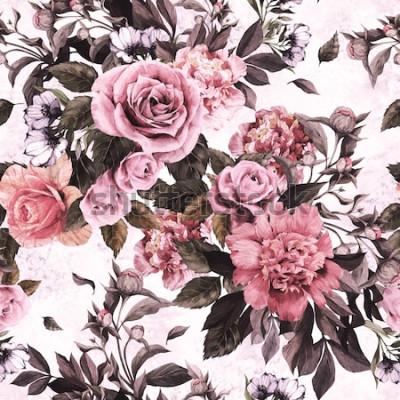 Naklejka Bezszwowy kwiecisty wzór z różowymi różami i peoniami na akwareli tle.