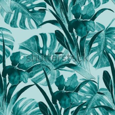 Naklejka Bezszwowy tropikalny wzór z irysowymi kwiatami i egzotycznymi liśćmi. Akwarela. Farba do rąk