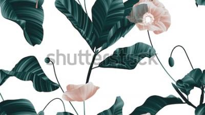 Naklejka Bezszwowy wzór, brown maczek kwitnie z zielonymi liśćmi na białym tle