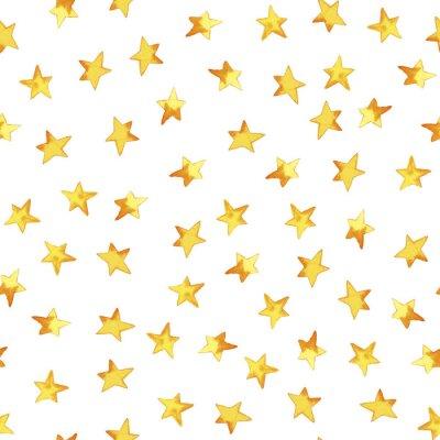 Naklejka Bezszwowy wzór ręki rysuje żółte proste gwiazdy w kreskówka dziecięcym przełazie na białym tle