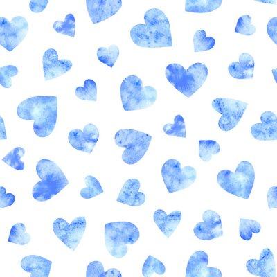 Bezszwowy wzór z błękitnymi akwareli sercami na białym tle.
