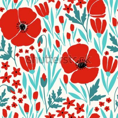 Naklejka Bezszwowy wzór z czerwonymi makowymi kwiatami