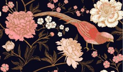 Naklejka Bezszwowy wzór z egzotycznymi ptasimi bażantami i peoni kwiatami.