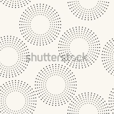 Naklejka Bezszwowy wzór z kropkowanymi okręgami. Wektor powtarzających się tekstur. Stylowe tło