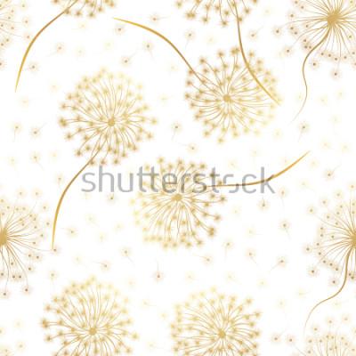 Naklejka Bezszwowy wzór z kwiatami Dandelion. Ilustracji wektorowych