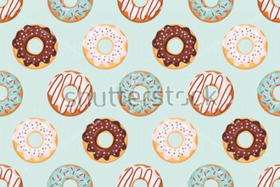 Naklejka Bezszwowy wzór z oszklonymi donuts. Kolory niebieski i czekoladowy. Girly. Do drukowania i internetu.