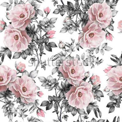 Naklejka Bezszwowy wzór z różowymi kwiatami i liśćmi na białym tle, akwarela kwiecistym wzorze, kwiat wzrastał w pastelowym kolorze, bezszwowy kwiatu wzór dla tapety, karty lub tkaniny