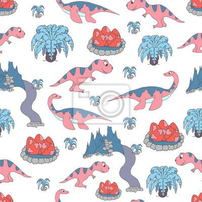 Bezszwowy wzór z ślicznymi dinosaurami