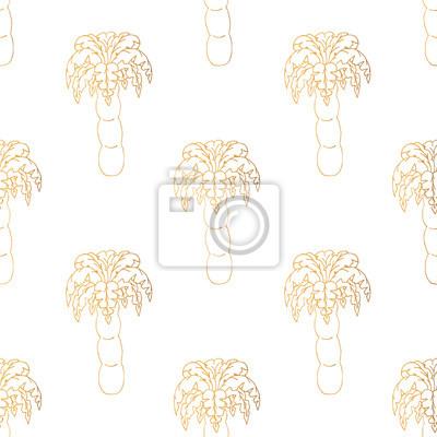 Bezszwowy złoty wzór z drzewkiem palmowym