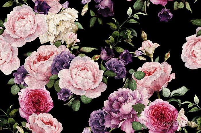 Naklejka Bezszwowych floral deseniu z ró ?, akwarela