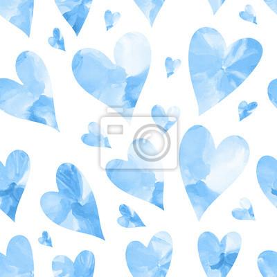 Bezszwowych tekstur z niebieskich serc akwarelowych. Jednolite tło serca. Szczęśliwych walentynek.