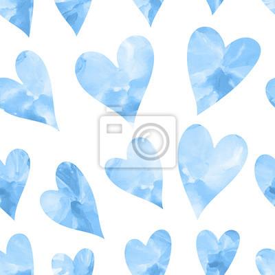 Bezszwowych tekstur z niebieskich serc akwarelowych. Jednolite tło serca. Szczęśliwych walentynek