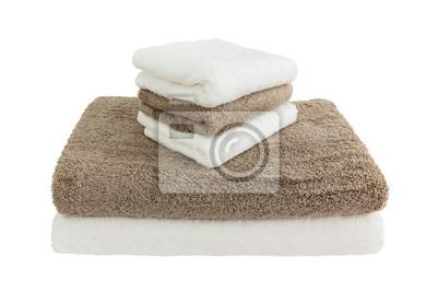 Białe brązowego ręczniki. Odizolowany