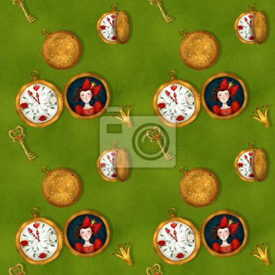 Białe króliki zegarki, wzór