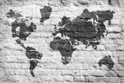 Naklejka Białe ściany i mapa obraz świata