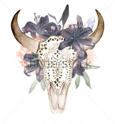 Naklejka Białe tło z kwiatami i piórami na białym tle. Styl Boho. Ozdobne czaszki na czarnym tle, tapety, t-shirty, tekstylia, plakaty, karty, drukuje