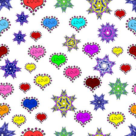 Biały, fioletowy i niebieski wzór serca akwarela. Bezszwowych deseniowych akwareli serc bezszwowy tło. Ilustracji wektorowych. Kolorowe akwarele romantyczne tekstury.