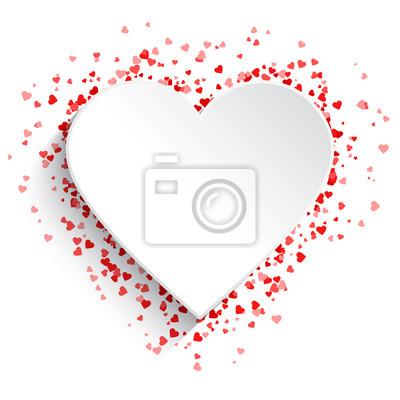 Naklejka Biały kierowy tło z czerwonymi sercami
