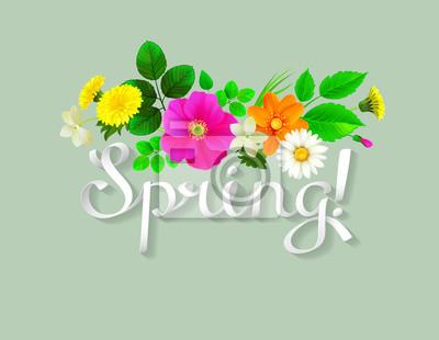 Biały napis wiosny jak wstążka. Tło zdobione żółte mlecze, chamomiles, różowe dzikiej róży, jaśminu i świeżych liści.