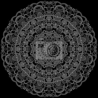 Biały okrągły ozdobny wzór. Lace tło