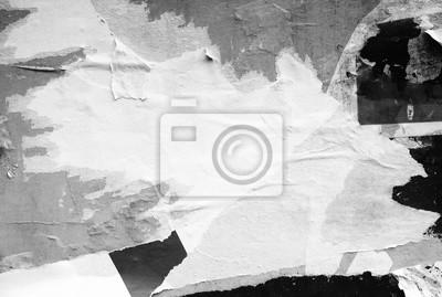 Naklejka Biały papier zgrywanie puste tło rozdarty pognieciony afisz plakaty pognieciony grunge tekstury powierzchni / miejsca na tekst