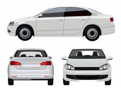 Naklejka Biały pojazdu - Sedan samochodów z trzech kątów